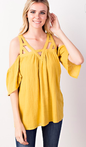 The Lanai Cut-Out Gauze Top- Saffron!!!