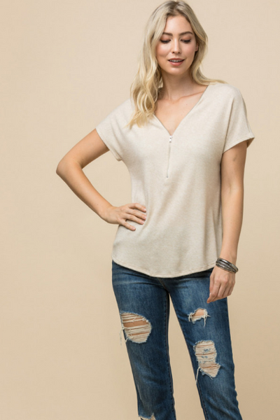 Zip Trimmed V Neck Short Sleeve Knit Tee- 2 colors!