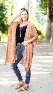 Embroidered Geometric Striped Boho Kimono