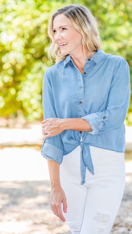 Tied Up Chambray Button Up Top