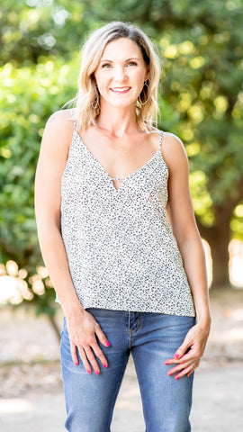 Irregular Dot Deep V Cami Tank