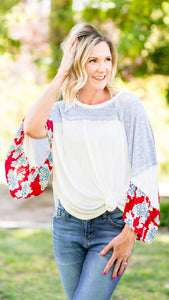 Festival Bound Red Ruffle Batwing Top