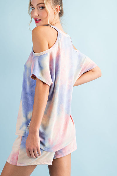 Cold Shoulder Pink Tie Dye Lounge Set