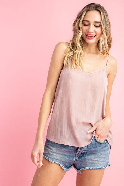 Essential Babe Mesh Trim Tank Top- 4 Colors!