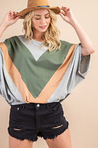 Olivaceous Chevron Batwing Top