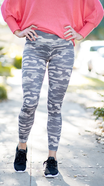 Faded OG Camo High Rise Leggings- Gray
