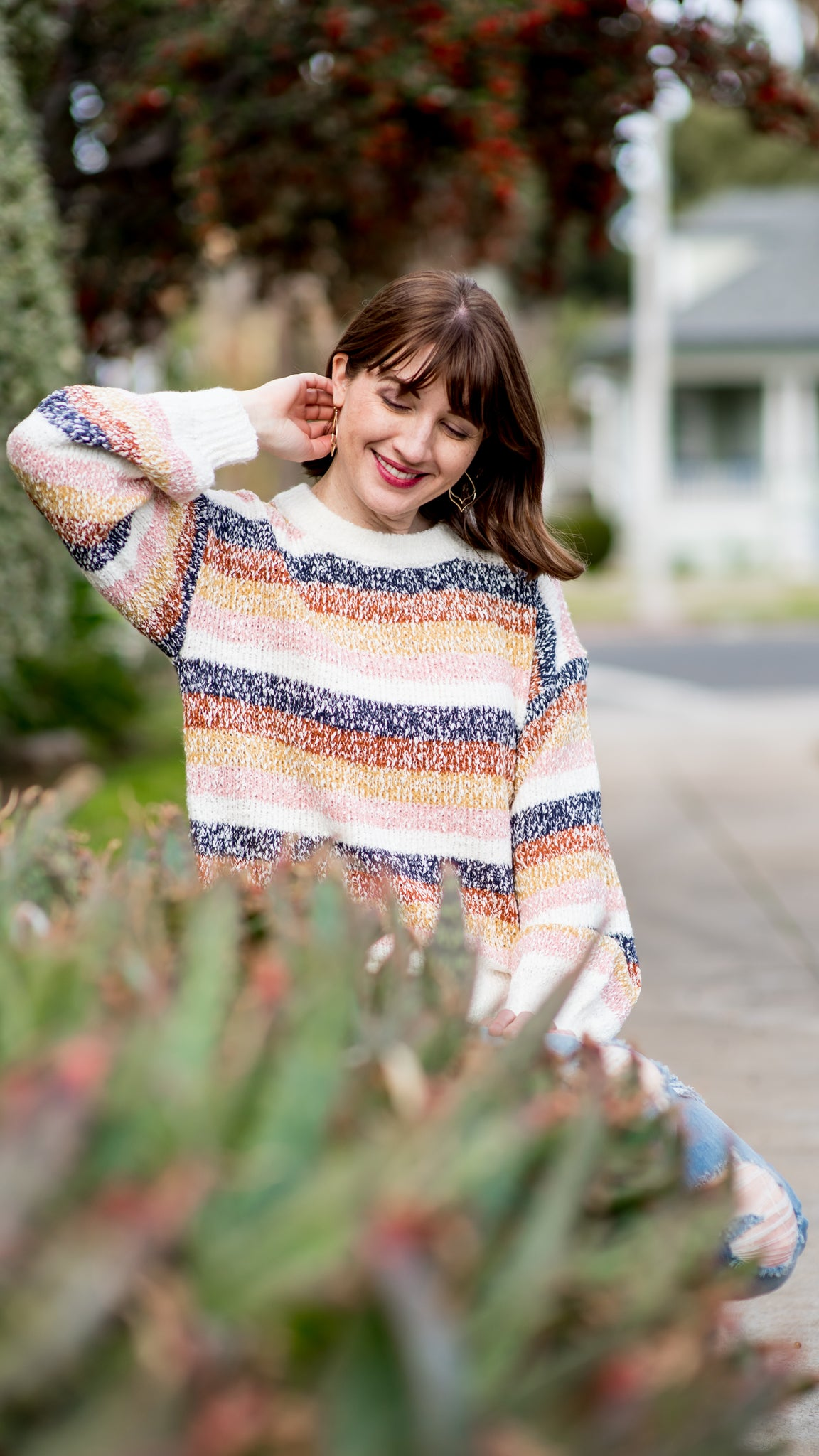 Cinnamon Sprinkled Multi Striped Sweater