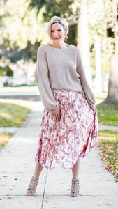 Marble Pleated Midi Skirt