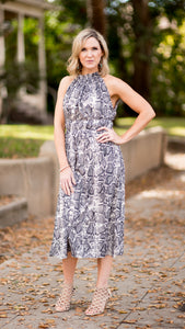 Live Out Loud Gray Snakeskin Dress
