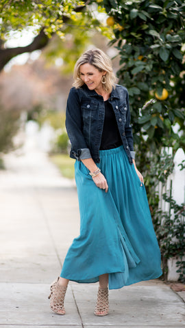 Teal Deep Side Slit A-Line Skirt