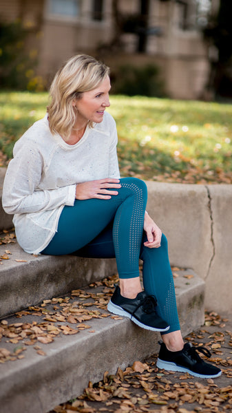 Teal Perforated Seamless Highwaist Leggings