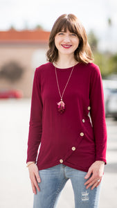 Essential Babe Side Button Tunic Top- Burgundy