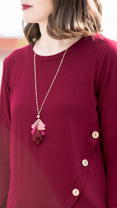 Tassel Charm Necklace- Pink
