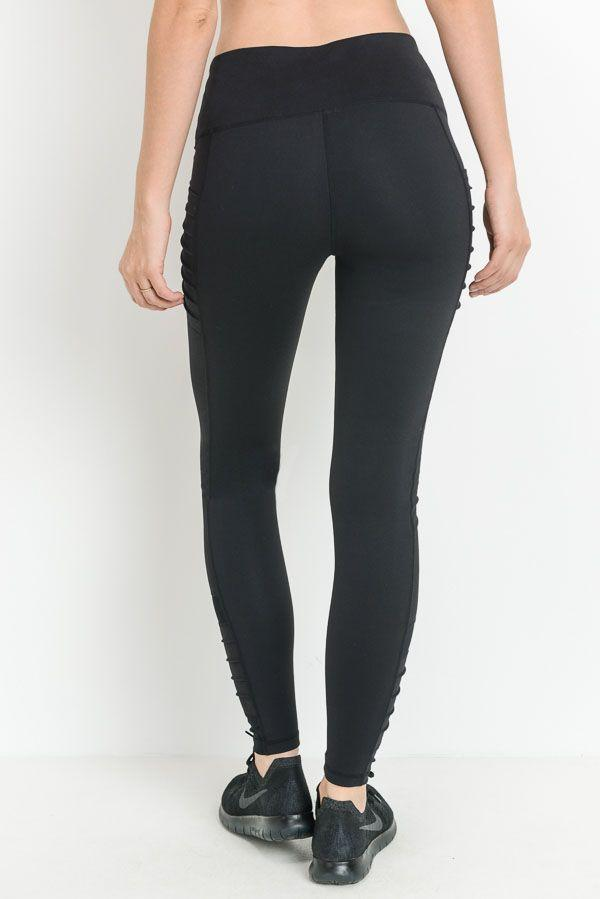 Full Length Rib Black Pocket Legging