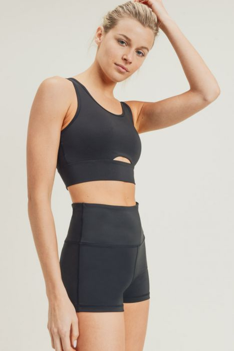 Peek-a-Boo Racerback Sports Bra in Black
