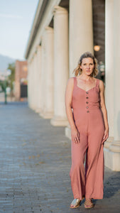 Smokey Apricot Jumpsuit with Tie Back