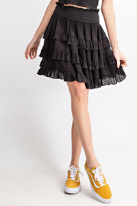 Take Your Time Ruffled Skirt in Black