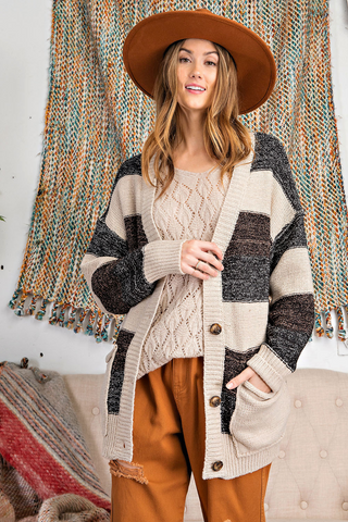 The Riley Oatmeal Striped Grandpa Cardigan