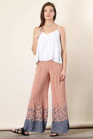 Last Summer Smocked Border Print Palazzo Pants- Navy