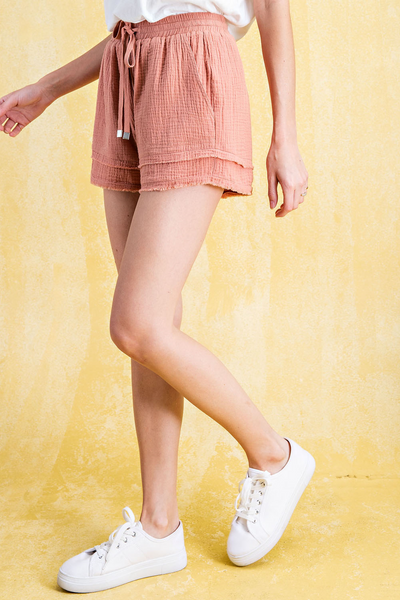 Faded Coral Layered Drawstring Shorts