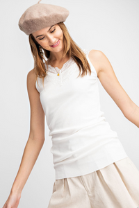 Essential Babe Lace Shoulder Rib Knit Tank- Off White