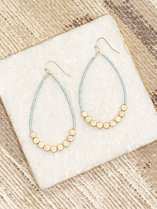 Mint Seed Bead Teardrop Earrings
