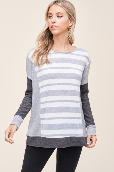 No Stopping You Gray Striped Pullover Top