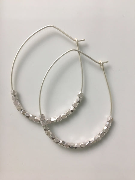 Seed Bead Oval Metal Hoop Earrings- 2 Colors!