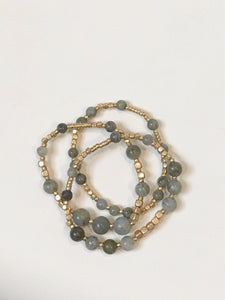 Sage & Gold Stretch Bracelet Set