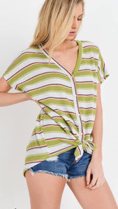 Freshly Picked Striped Waffle Knit Top
