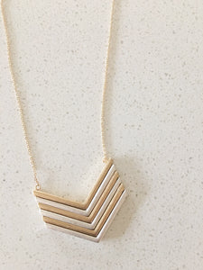 Mixed Metal Chevron Pendant Necklace