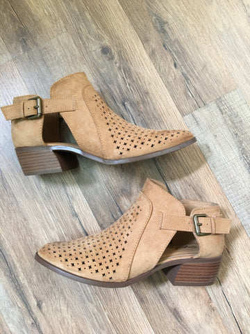 Tread Lightly Camel Perforated Bootie