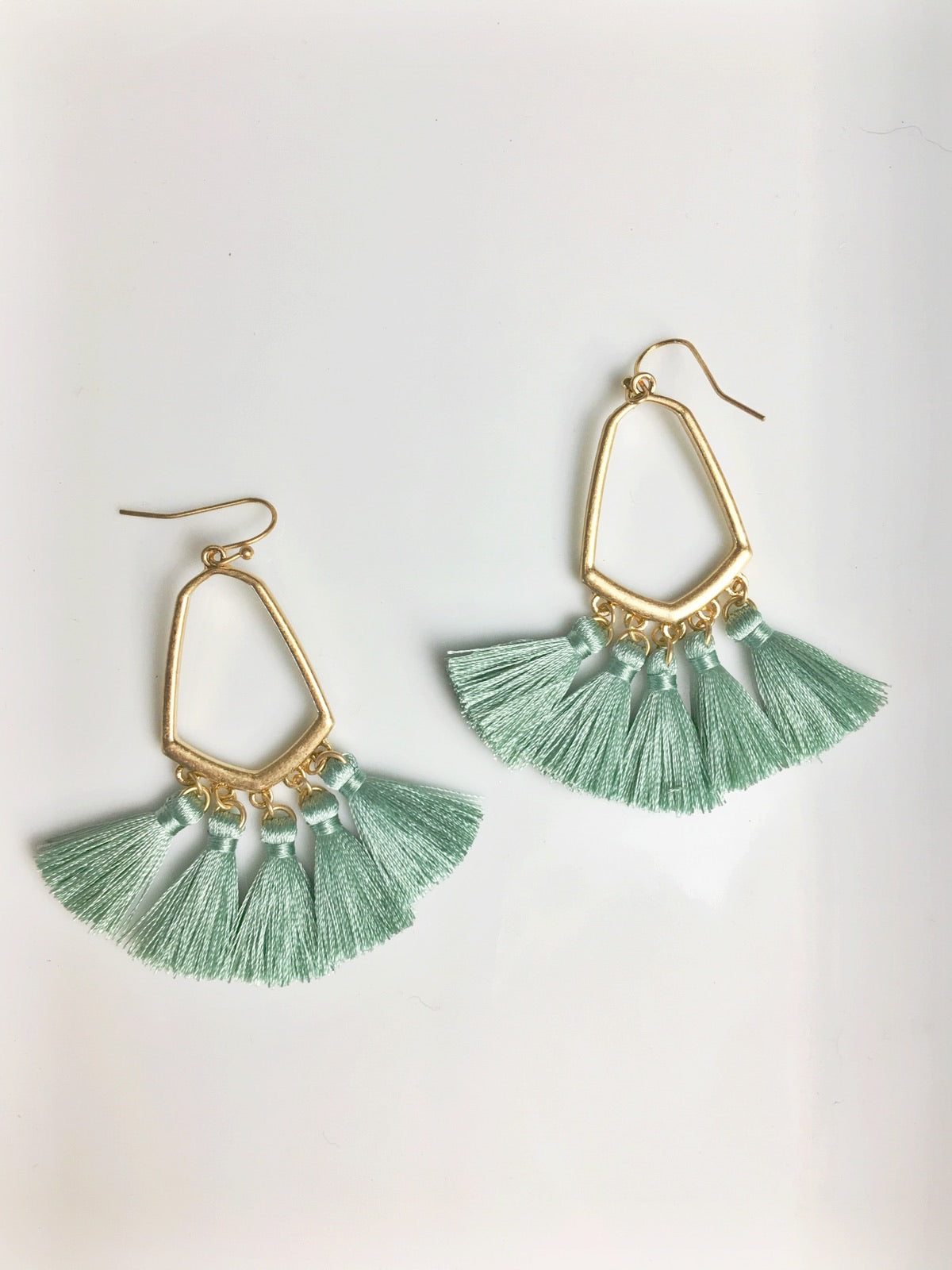 Sea Foam Geo Tassel Drop Earrings