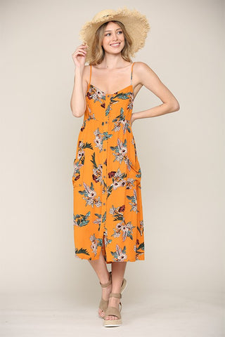 Hummingbird Yellow Floral Midi Dress