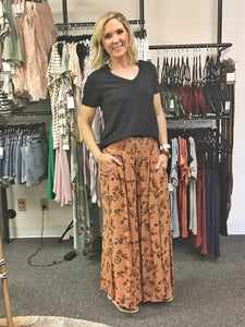 Terra Cotta Smocked Waist Wide Leg Pants