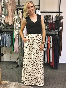 Ivory Leopard Button Front Maxi Skirt