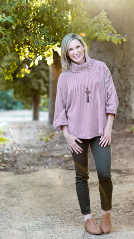 Thermal Stripe Cowl Neck Poncho