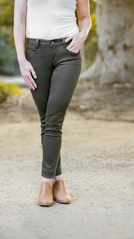 Sarina Colored Stretch Skinny Jean- Olive