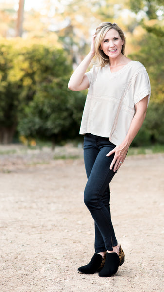 Modern Mom Crochet V Neck Top