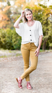 The Blair Button Down Vneck Blouse