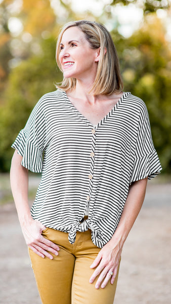 Take a Trip Stripe Button Down Top
