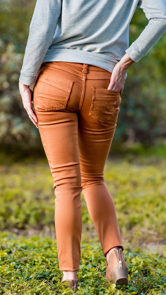 RESTOCKED!! Sarina Colored Stretch Skinny Jean- Rust