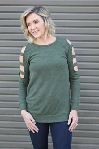 Later Days Cut Out Tunic Sweater