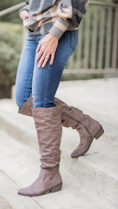 Tall Slouch Boot in Dark Taupe