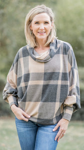Taupe Soft Checkered Cowl Neck Top