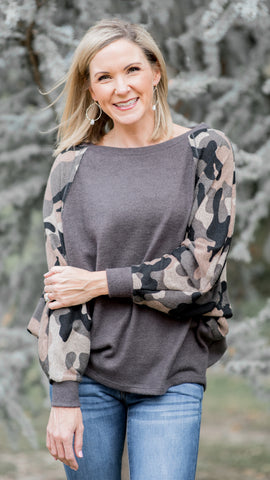 Better in Camo Dolman Sleeve Fleece Top