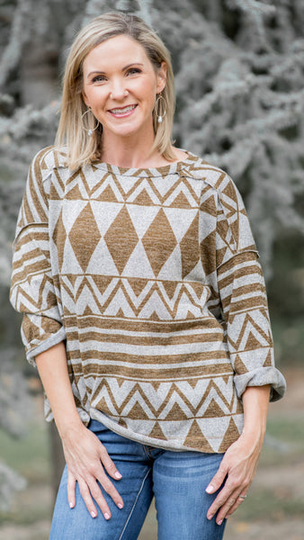 Rain Man Relaxed Fit Tribal Print Top- 2 Colors!