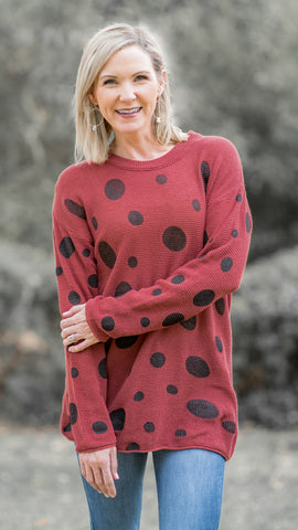 Rust Polka Dot Sweater Top