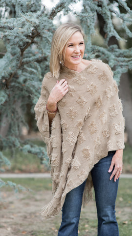 The Carolina Textured Fringe Poncho in Khaki