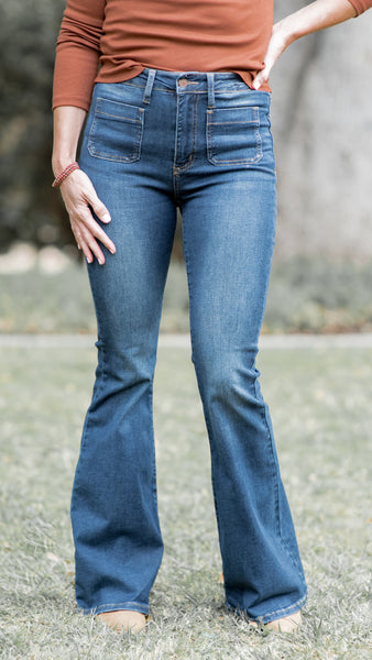 Oh Hey Girl! Patch Pocket Flared Jeans from Judy Blue